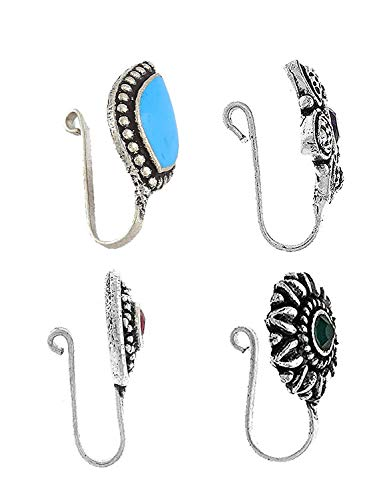 Anuradha Art Multi Colour Oxidised Silver Tone Press On Combo Pack Nose Ring/Nose Stud/Pin For Women/Girls 3