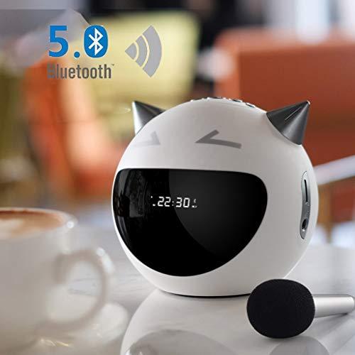 ZJHNZS Altoparlante Bluetooth Altoparlanti Wireless Bluetooth Ricaricabile Robot Portatile Sveglia Radio FM con Mini Microfono, Bianco