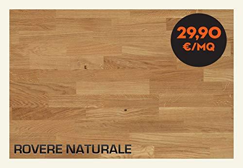 Parquet Rovere Naturale Verniciato 900 x 90 mm spessore 10 mm di cui 4 mm di parte nobile Scatola da...