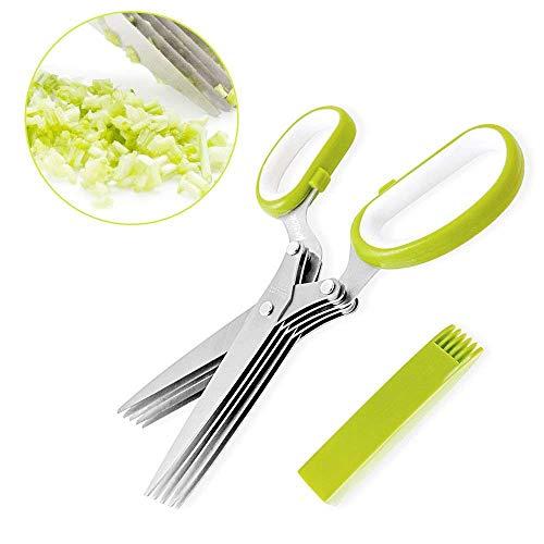 Mopalwin Tijeras de cocina en acero inoxidable Tijeras para hierbas aromáticas Tijeras a 5 hojas - Verde