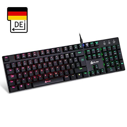 KLIM™ Dash – Niedrigprofil mechanische QWERTZ Tastatur mit roten Schaltern für kultivierte Professionelle Anwender und Gamer - 10 Jahres Garantie - RGB Farben - Metallrahmen Vollständige Anpassbarkeit