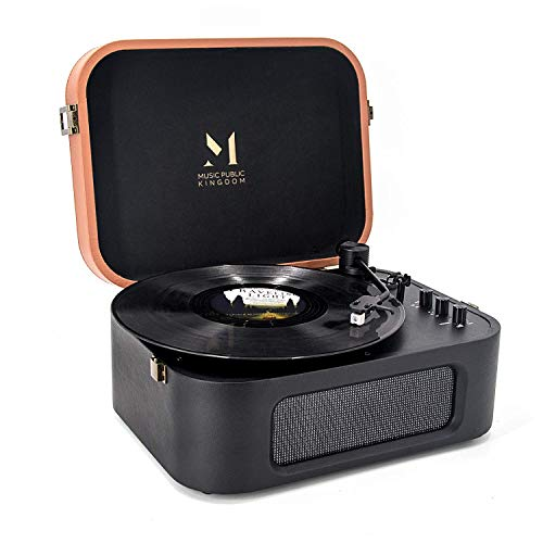 MUSIC PUBLIC KINGDOM MPK Turntable Vinyl Record Player equipped with Audio Technica MM Cartridge, 2 Built-in Stereo Speakers and Bluetooth Input Receiving Function