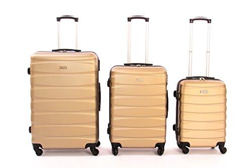 set da 3 pezzi valige trolly in ABS e policarbonato con 4 ruote girevoli 360° gradi colori vari...