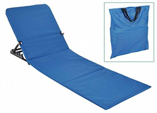 Strandliege 145x47x52 cm klappbar blau Strandmatte Sonnenliege tragbar zusammenklappbar Outdoorliege