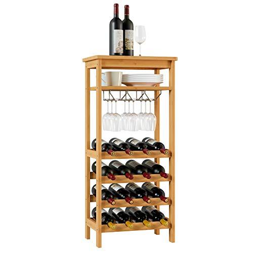 Homfa Cantinetta Portabottiglie di Vino in bambù per 4 Ripiani con 16 Bottiglie e 6-9 Bicchieri da Vino, Cremagliera del Vino per 4 Livelli, (47 × 29× 100 cm)