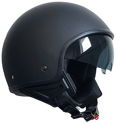 Jethelm Helm Motorradhelm Rollerhelm Chopperhelm mit Sonnenblende RALLOX 710 schwarz/matt (S, M, L, XL) Größe L