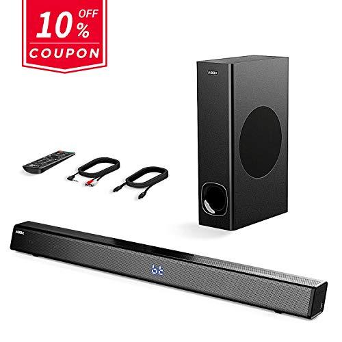 Soundbar con Subwoofer, ABOX 120W Altoparlante 2.1 Canali, Sistema Home Cinema Suono Surround 110db...