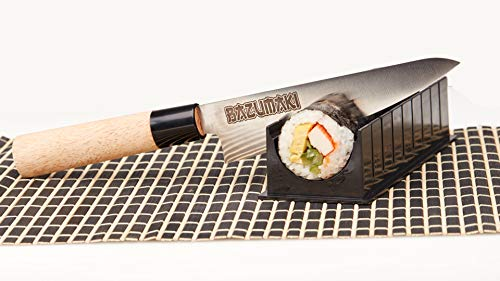 Kit Sushi Bazumaki (6 accessoires) | Sushi Bazooka, Couteau à Sushis, Guide de coupe, Moule Nigiri, Set de table en bambou, 2 paires de baguettes | Facile pour les débutants | Simple à laver