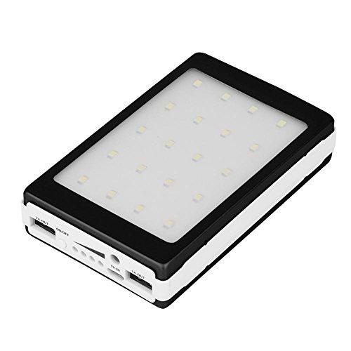 Zerone Cargador Solar DIY Kit 20000mAh Solar Power Bank Portátil Batería Externa de Copia de Seguridad Pack Dual USB Cargador de Teléfono Solar Luz LED para Sus Smartphones y Más