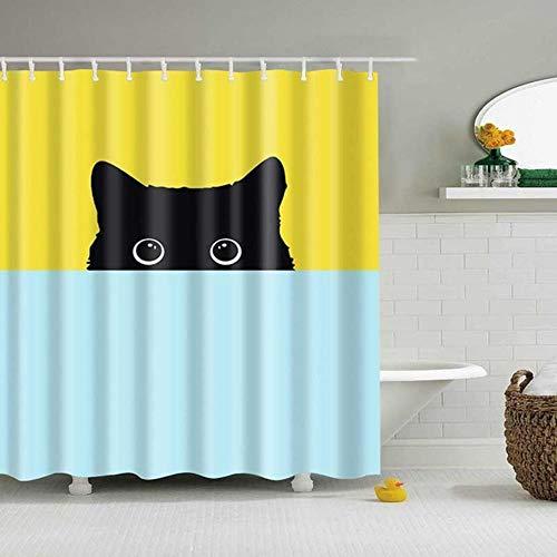 LLAAIT Cute Cat 3D Impreso Cortina de Ducha Animal de Dibujos Animados Tela de poliéster Cortina de baño para baño Cortina Decoración Cortinas de Ducha, 17, W120xH180cm