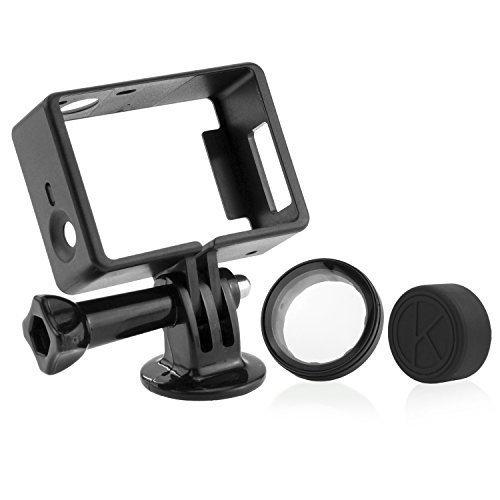 CamKix Telaio Compatibile con GoPro Hero 4 Black e Silver 3 e 3+ / USB, HDMI - Custodia Leggera e Compatta - Vite a Galletto/Montatura Cavalletto/Copriobiettivo in Gomma/Filtro Protettivo