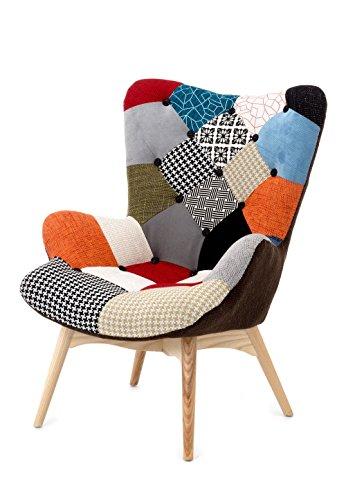 Fashion Commerce Patchwork Poltrona, Lino, Multicolore, 70 x 78 x 96 cm