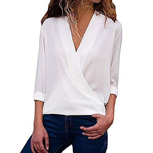 Chaqueta Mujer,Modaworld Blusa de Manga Larga para Mujer Camisa Casual de Las señoras Camisa de Trabajo de Oficina con Cuello en V