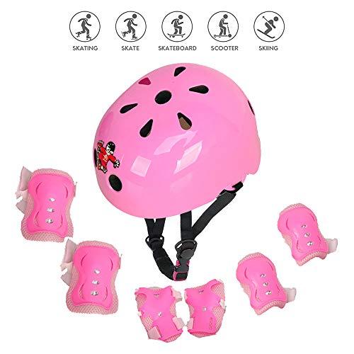 Voker Protezione di Casco Bambini Set Casco Bici Protezioni Set per Bambini Regolabile Gomitiere...