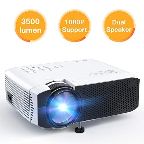 Proyector APEMAN Mini Portátil Proyector de Cine en Casa 3500 Lumen Altavoces Duales Incorporados 50000 Horas Soporte HD 1080P HDMI/USB/VGA/AV/Micro SD (Incluye HDMI/AV/Cable de Alimentación)
