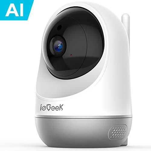 ieGeek 1080P Telecamera Wi-Fi Interno, Baby Monitor, AI Videocamera Sorveglianza Interno WiFi con Visione Notturna, Audio Bidirezionale, Notifica di Rilevamento del Movimento