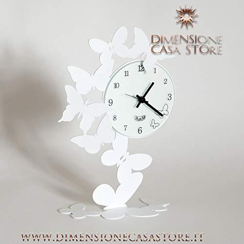Reloj de mesa con diseño de mariposa, color blanco