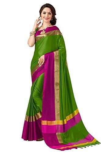Indianbeauty Cotton Silk Saree (Blue N_Green)