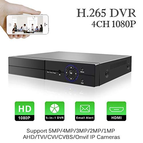 Aottom H.265 4 Canali 1080P CCTV Videoregistratore 5 in 1 AHD/TVI/CVI/960H DVR HVR Onvif NVR,con...