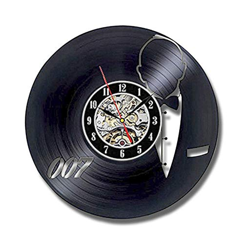 llsmting Orologio,Orologio da Parete Vinyl Modern Design ation James Bond 007 Orologio Vintage Stile...