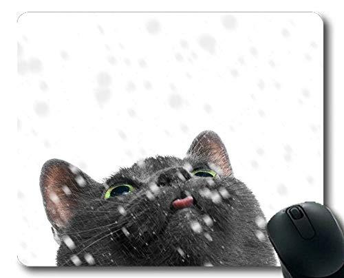 Yanteng Tappetino per Mouse da Gioco, Tappetino per Mouse Gatto Snowfall per Animali Domestici,...