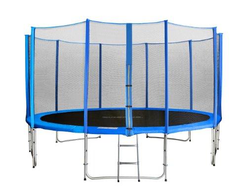 SixBros, SixJump 4,30 m trampolín de jardín azul Intertek/GS certificado | Escalera | Red de seguridad | Tiempo wellenshop | Largo de barras - CST430/L1769