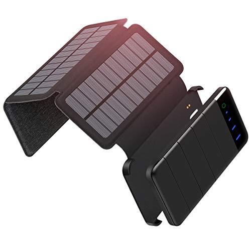 ADDTOP Caricabatterie solare 10000 mAh, Portatile Power Bank staccabile pieghevole 3 pannelli solari...