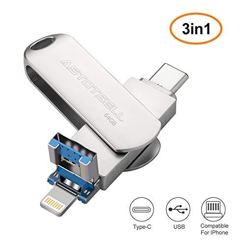 ASTOTSELL 64 GB 3-in-1 USB Flash Drive, PenDrive Memoria di archiviazione Espansione USB Stick...