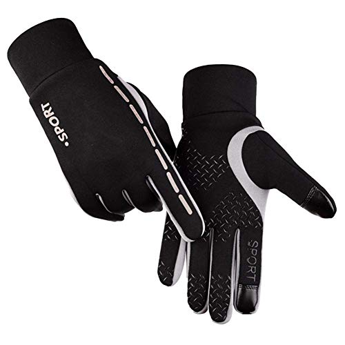 Adeeing Cycling Gloves Unisex Luminous Outdoor Cycling Gloves Warm Velvet Touch Screen Waterproof Windproof Gloves