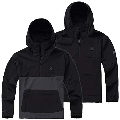 PG-Wear-Herren-Full-Face-Softshelljacke-Combat-mit-Sturmhaube-in-schwarz-und-grau-S-XXXL
