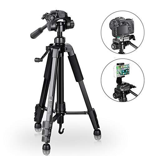 Trípode de Cámara - Trípode Completo de 151cm para Canon Sony Nikon, Trípode Compacto puede Carga Peso Max 5KG, Trípode Flexible con Soporte para Móvil, Trípode Portátil Incluye Bolsa de Transporte