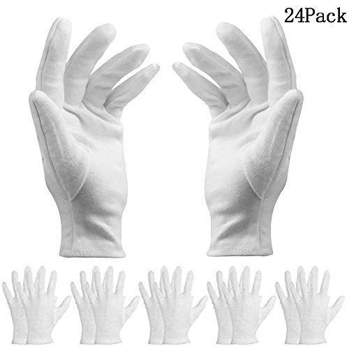 Bestzy 12paia di guanti in cotone sottile leggero elastico morbido cotone di lavoro guanto bianco...
