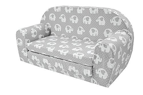 MoMika bambini Divano | I bambini Divano letto | Bambino pieghevole 2-in-1 divano e letto | 0-4 anni (Elephant-Hearts)