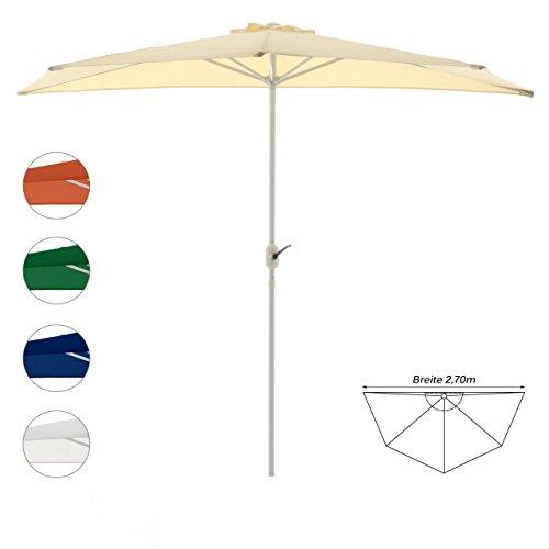 Nexos Sonnenschirm Champagner halbrund Ø 2,70 x 1,40m Wandschirm Balkon-Schirm mit Kurbel Polyester 160 g/m² Sonnenschutz