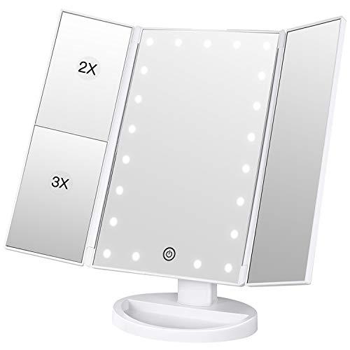 Bestope 990528trucco specchio ingranditore Vanity make up specchio bianco 21luci LED Tri-Fold...
