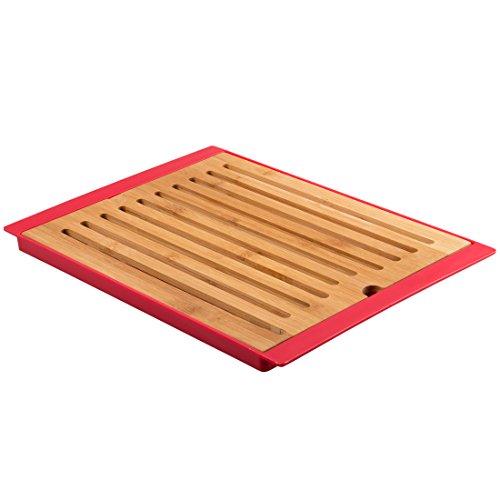 Levivo Brotschneidebrett aus Bambus mit Krümelfach in 3 Farben, rot