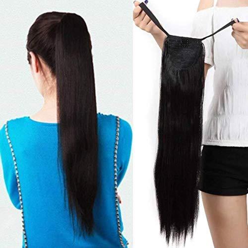BLUSHIA Synthetic High Temperature Fibre 24'' Wrap Around Ponytail Hair Extension (Natural Black)