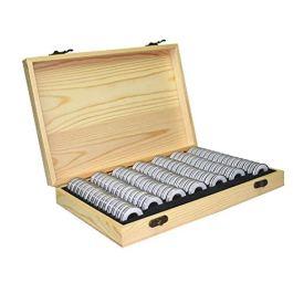 100 Grani Scatola Portamonete Porta Monete in Legno da Collezione Moneta Commemorativa Raccoglitore
