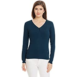 United Colors of Benetton Women's Cotton Sports Knitwear (16A1092D6163IA13L_Blue)