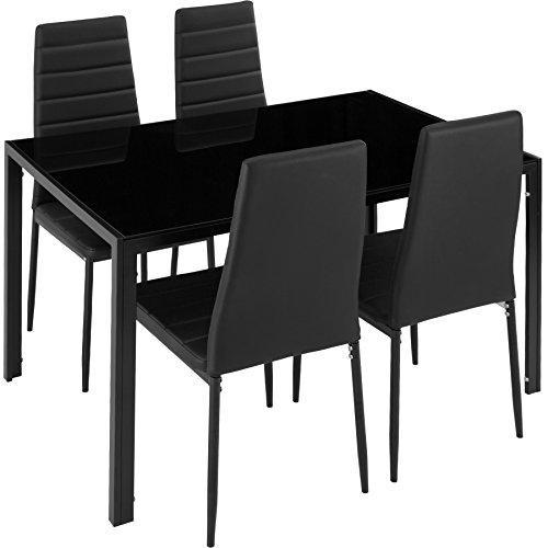 TecTake Tavolo de Pranzo con 4 sedie | Elevato Comfort di Seduta | Robusto Piano del Tavolo in Vetro...