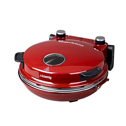 H.Koenig NAPL350 Forno per Pizza Napoletana, Temp max 350°, Piatto in ceramica diam 32 cm, Rosso
