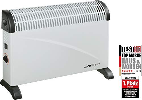Clatronic KH 3077 Konvektor Heizung, mobile Wärme, 3 Heizstufen (750/1250/2000 Watt), stufenlos regelbarer Thermostat, komfortable Tragemulden, geräuscharm