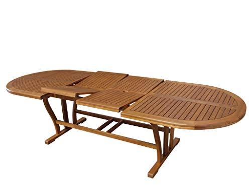 MilaniHome Tavolo Ovale Allungabile in Legno di Acacia 200/300 X 110 per Esterno Giardino Portico...