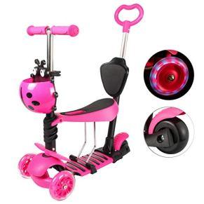 Yorbay Patinete Scooter Freestyle 3 en 1 Walker Trole Scooter 3 Ruedas de LED Altura Ajustable con 1x Cesta del Escarabajo para Niño Infantil (Rosa)