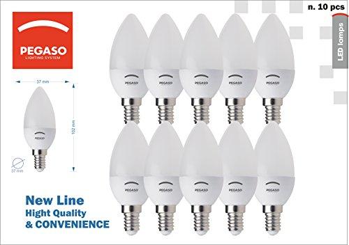 SET di 10 LAMPADINE LED CANDELA C37 PEGASO, 7W 525 Lumen, Attacco E14, LUCE FREDDA 6000K° (7)