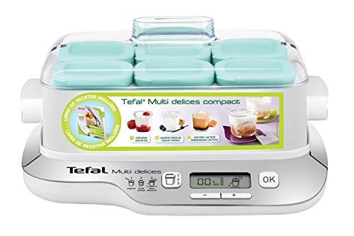 Tefal Multidelices - Yogurtera eléctrica 3 en 1, para yogures, quesos y postres, 6 tarros de cristal, 6 escurridores para queso fresco, 6 tapas