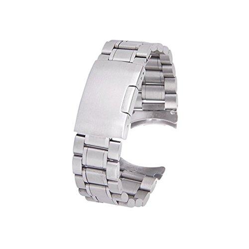 TOOGOO(R) Cinturino orologio Argento solido acciaio inossidabile lega estremita' piegata fibbia pieghevole in 20 millimetri