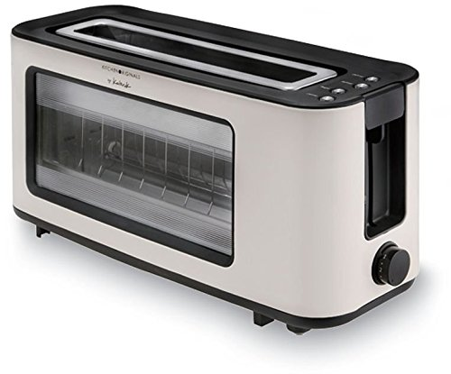 Team Kalorik Langschlitz-Toaster mit Glassichtfenster, Infrarot-Heiztechnologie, Separater Brötchenaufsatz, Integrierte Krümelschublade, 1100 W, Creme-Weiß, TKG TO 1012 KTO