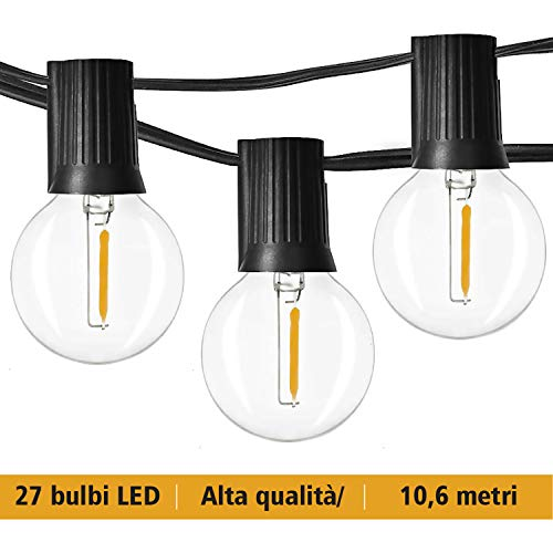 JP-LED Catena Di Luci LED【 Con 27 Lampadine Led G40 】Luci Da Esterno E Da Arredamento 【...