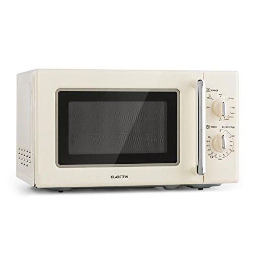 Klarstein Caroline Microondas • Microondas combi 2 en 1 con función grill • 20 litros • 700/1000 W de potencia • Ø 25,5cm • Diseño retro • Acero inoxidable • Beige